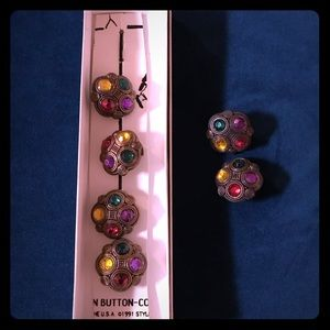 Vintage Button Covers & 1 pair of earrings
